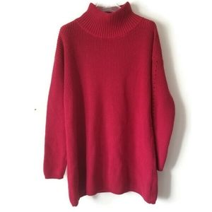 Lord & Taylor sweater red long sz Large